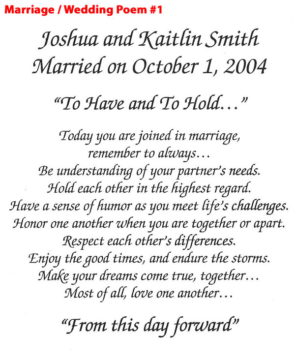 Marriage/Wedding Poem 1